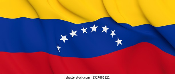 National Fabric Wave Close Up Flag of Venezuela Waving in the Wind. 3d rendering illustration.