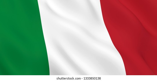 National Fabric Wave Close Up Flag of Italy Waving in the Wind. 3d rendering illustration.