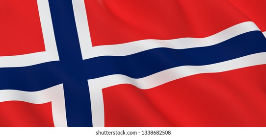 National Fabric Wave Close Up Flag of Norway Waving in the Wind. 3d rendering illustration.