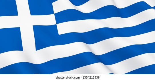 National Fabric Wave Close Up Flag of Greece Waving in the Wind. 3d rendering illustration.