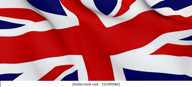 National Fabric Wave Closeup Flag of United Kingdom. 3d rendering illustration.