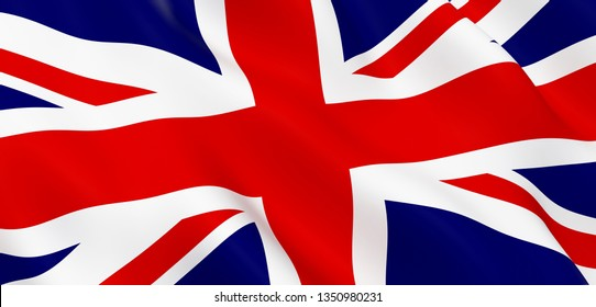 National Fabric Wave Closeup Flag of United Kingdom. 3d rendering illustration.