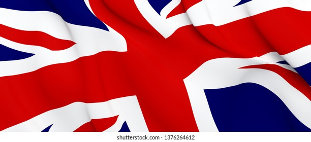 National Fabric Wave Closeup Flag of Great Britain Waving in the Wind. 3d rendering illustration.