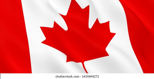 National Fabric Wave Closeup Flag of Canada Waving in the Wind. 3d rendering illustration.