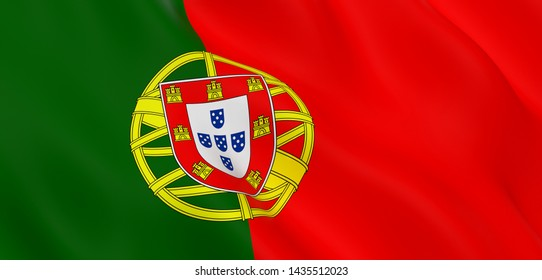 National Fabric Wave Closeup Flag of Portugal Waving in the Wind. 3d rendering illustration.
