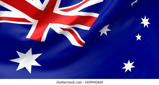 National Fabric Wave Closeup Flag of Australia Waving in the Wind. 3d rendering illustration.