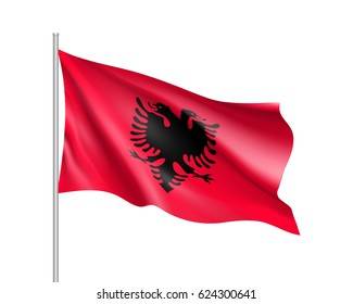 National flag of Albania state - patriotic symbol in official colors: black and red. Illustration of Sounhern European country flag.