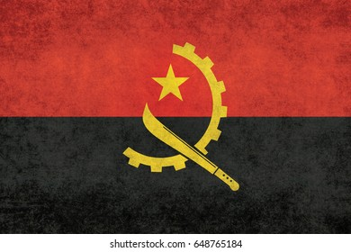 National flag of Angola with distressed grungy textures
