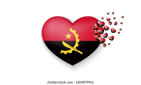 National flag of Angola in heart illustration. With love to Angola country. The national flag of Angola fly out small hearts on white background