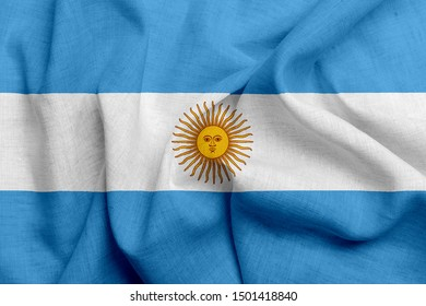 National flag of Argentina on a waving cotton texture background