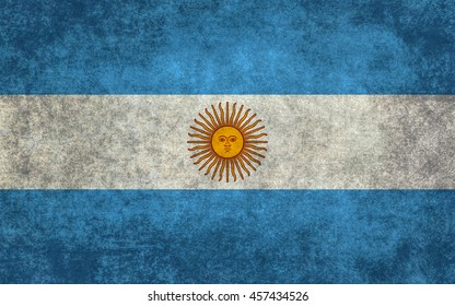 National flag of Argentina with worn textured treatment