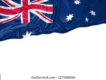 National flag of Australia hoisted outdoors with white background. Australia Day Celebration. Front view