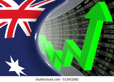 National flag of Australia with a large display of daily stock market price and quotations during economic booming period. The fate and mystery of Australian market, tunnel concept. 3d illustration.