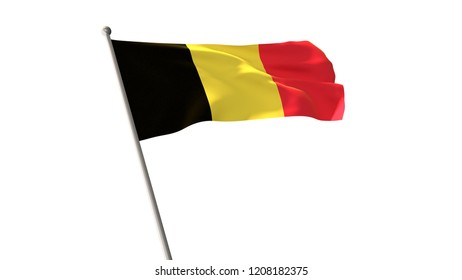 National flag of Belgium isolated from the background can be used to design.3D illustration,3D rendering