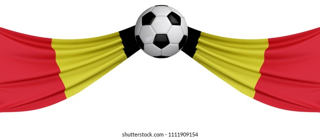 The national flag of Belgium with a soccer ball. Football supporter concept. 3D Rendering