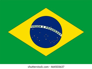 """The national flag of Brazil is a blue disc depicting a starry sky spanned by a curved band inscribed with the national motto """"Order and Progress"""", within a gold rhombus, on a green field."""