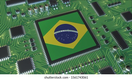 National flag of Brazil on the operating chipset. Brazilian information technology or hardware development related conceptual 3D rendering