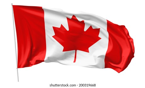 National flag of Canada on flagpole flying in the wind isolated on white, 3d illustration