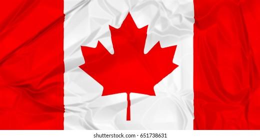The national flag of Canada rippled isolated on white background illustration.