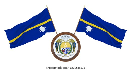National flag and the coat of arms 3D illustration  of Nauru. Background for editors and designers. National holiday