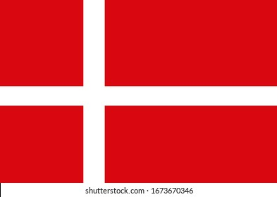National flag of country Denmark (White and red)