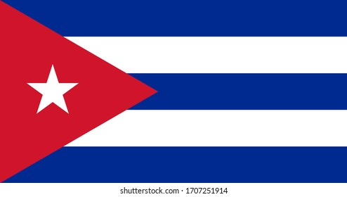 National flag of Cuba. Cuban flag. Official colors. Full size.