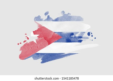 National flag of Cuba. Stylized Cuban flag with watercolor halftone effect on plain background