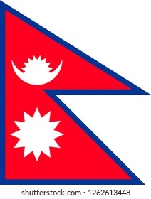 National flag of the Democratic Republic of Nepal.