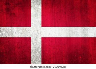 National flag of Denmark. Grungy effect.
