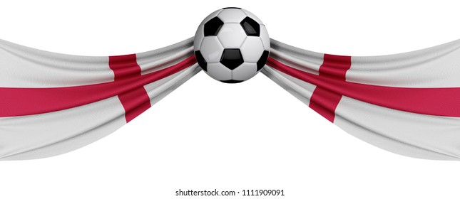 The national flag of England with a soccer ball. Football supporter concept. 3D Rendering