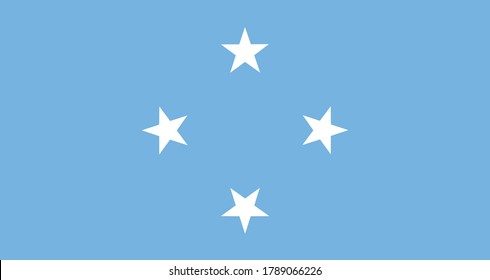 National flag of the federal states of micronesia. The main symbol of an independent country. An attribute of the large size of a democratic state illustration.
