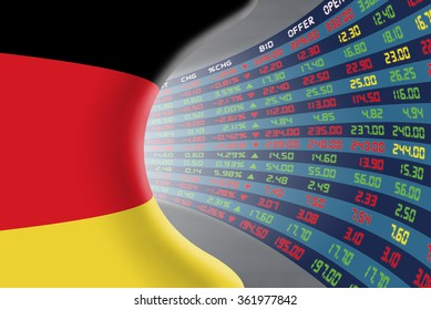 National flag of Germany with a large display of daily stock market price and quotations during normal economic period. The fate and mystery of German stock market, tunnel/corridor concept.