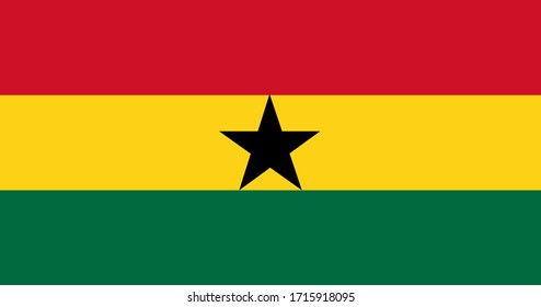 National flag of Ghana. Ghanaian original flag. Official colors. Proper proportions. Full size.