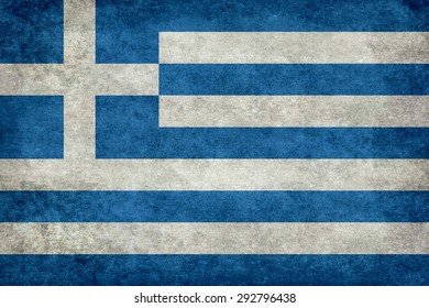 National Flag of Greece, with aged worn stone like textured treatment