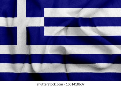 National flag of Greece on a waving cotton texture background