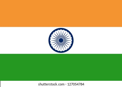 National flag of India. Design for size 900 x 600 mm. Proper ratio (2:3), size of Ashoka Chakra and colors. Adopted July 22, 1947.