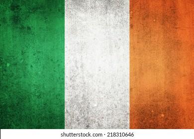 National flag of Ireland. Grungy effect.