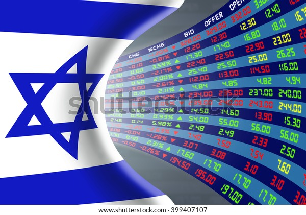 National flag of Israel with a large display of daily stock market price and quotations during normal economic period. The fate and mystery of Tel Aviv stock market, tunnel / corridor concept.