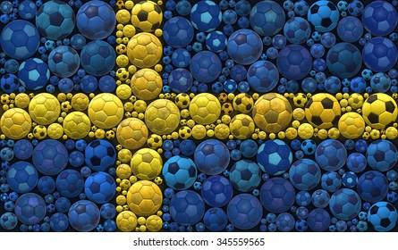 National Flag of the Kingdom of Sweden Soccer Balls Mosaic Illustration Design Concept Sport Background