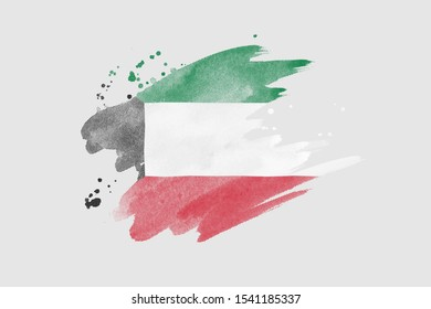 National flag of Kuwait. Stylized flag with watercolor halftone effect on plain background