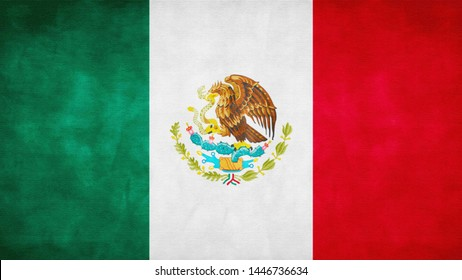National flag of Mexico illustration, Paper texture effect