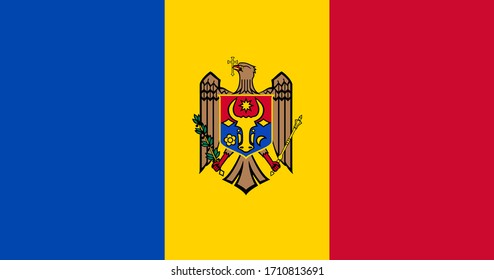 National flag of Moldova. Moldovan original flag. Official colors. Proper proportions. Full size.