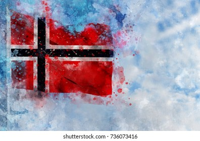 National flag of Norway on a flagpole in front of blue sky. Watercolor Illustration.