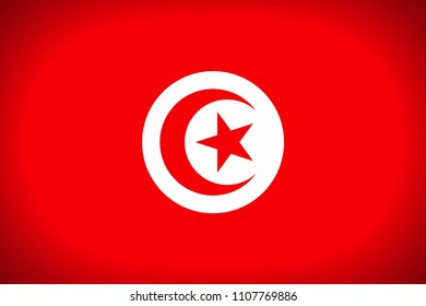 National flag of Republic of Tunisia.