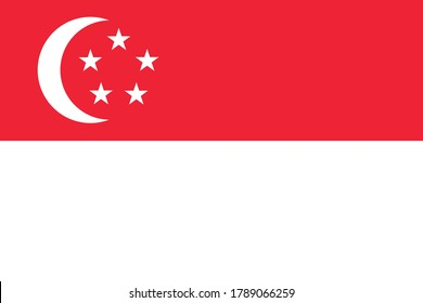 National flag of the Singapore. The main symbol of an independent country. An attribute of the large size of a democratic state illustration.