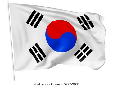 National flag of South Korea republic with flagpole flying and waving in the wind isolated on white, 3d illustration