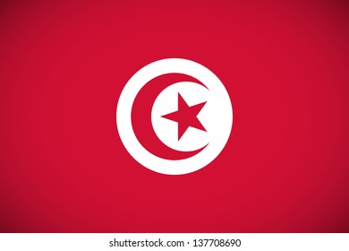 National flag of Tunisia with correct proportions and color scheme (raster illustration)