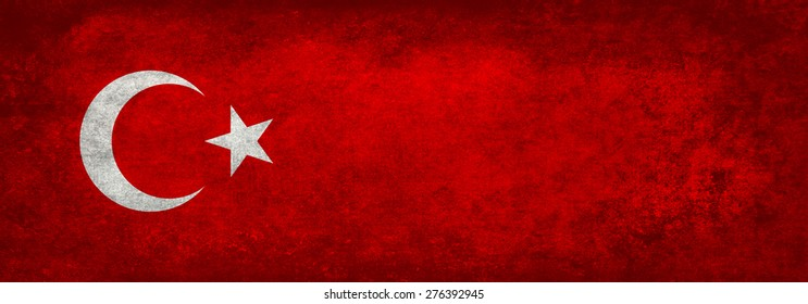 National Flag of Turkey, Banner version in distressed textured tones.