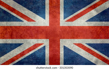 National flag of the United Kingdom, the Union Jack ensign 3:5 scale with a Vintage Retro texture treatment