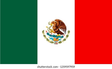 National flag of the United Mexican States.